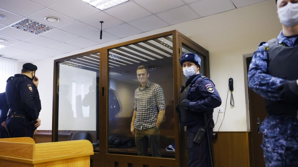 Alexei Navalny attends a hearing in Moscow, 20 February 2021