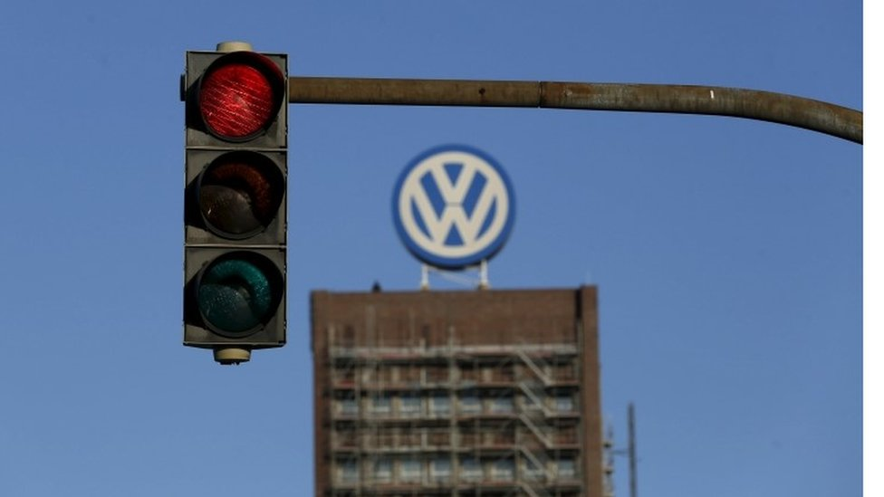 VW logo on top of building