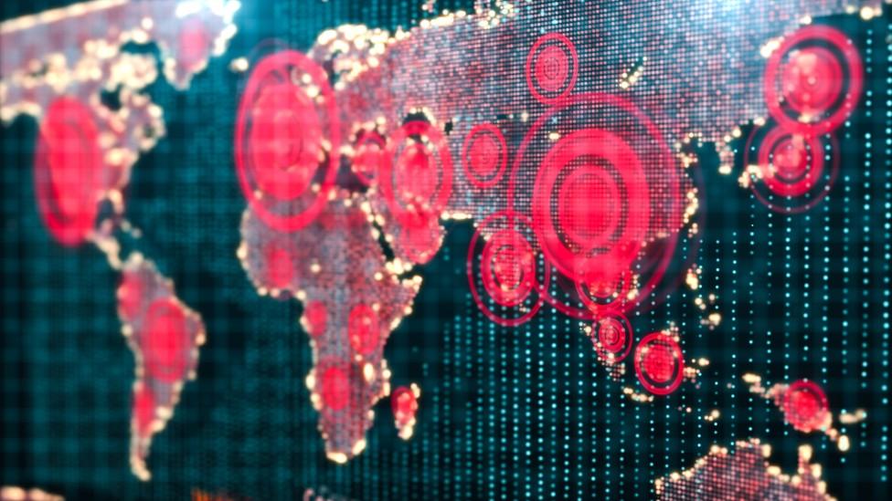 Ilustración de un mapa con círculos que marcan las regiones más afectadas por covid