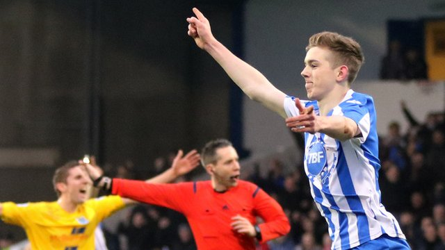 Jamie McGonigle celebrates after putting his team ahead in the 19th minute against Ballymena United