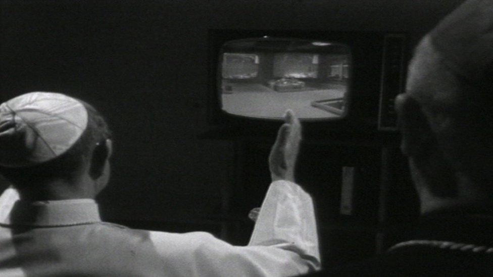 Pope Paul Vl watches the 1969 moon landing on television