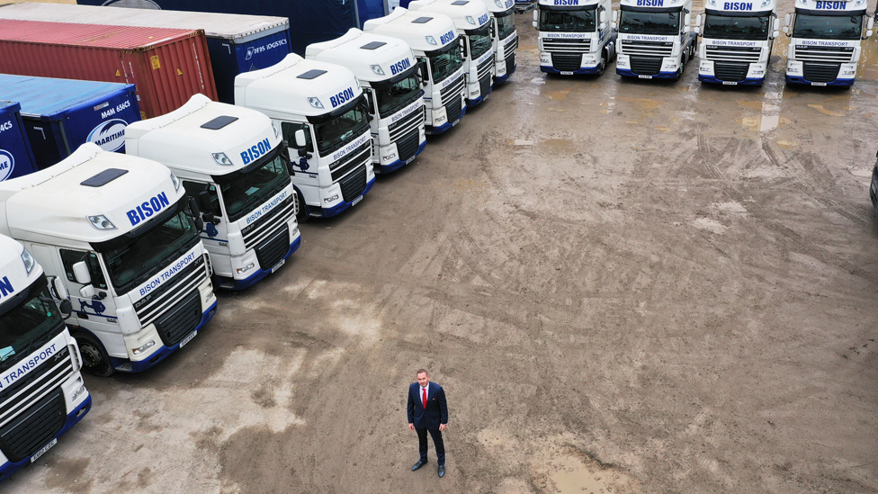 Andy Scott with the lorries of one of his haulage firms