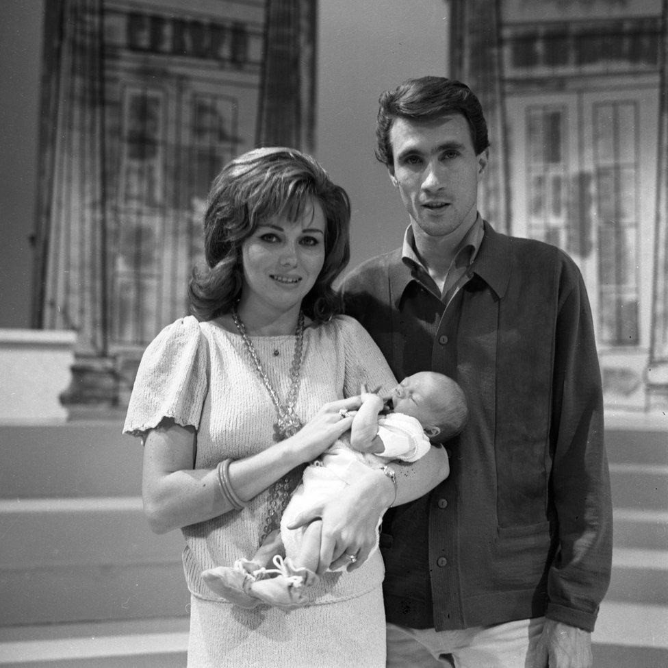 Singer Bill Medley of the rock and roll group 'The Righteous Brothers' poses for a portrait with his wife Karen Klaas and their newborn son
