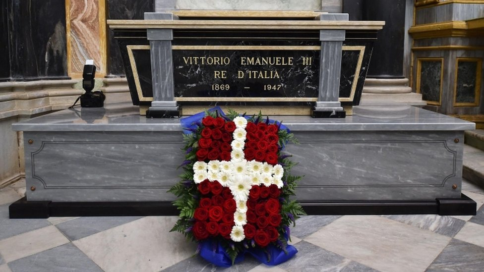 The tomb of King Victor Emmanuel III of Italy at the Sanctuary of Vicoforte, in Vicoforte, Italy, 18 December 2017.