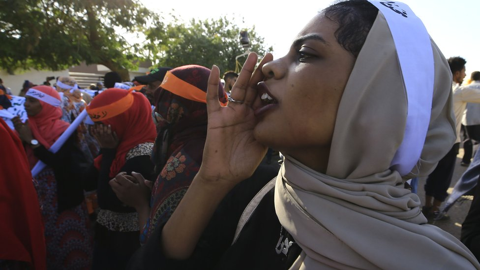 Women taking part in a march to mark the International Day for the Elimination of Violence against Women in Khartoum, Sudan - Monday 25 November 2019