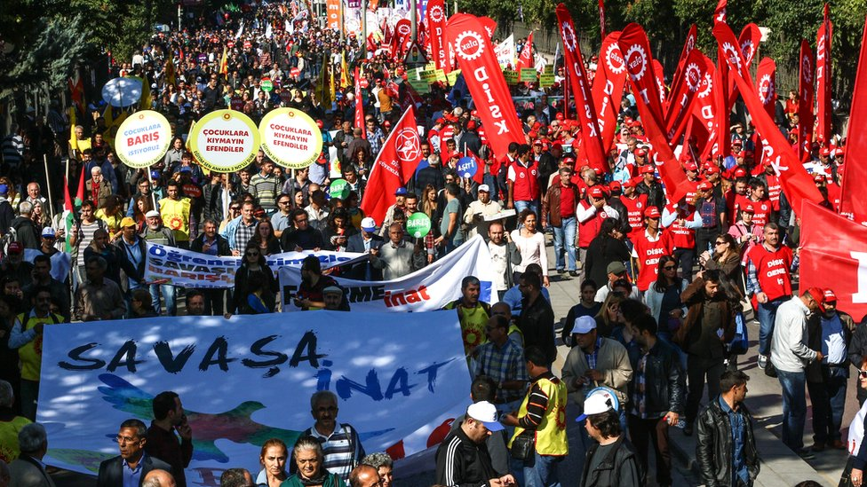 People gathering for a march in Ankara, Saturday 10 October 2015