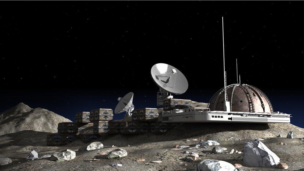 Ilustración en 3D de una base lunar