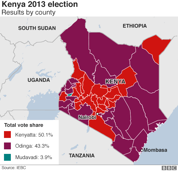 Kenya election map results by county