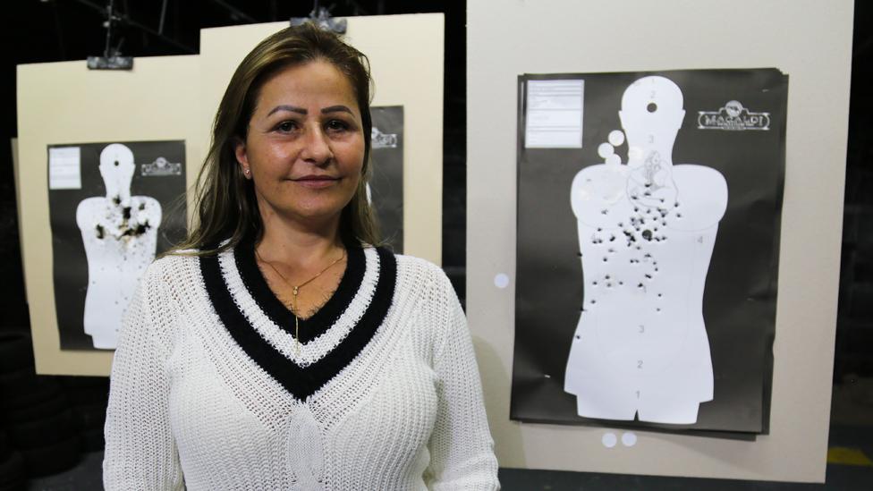 Katia Rose Maciel Broca at the gun club she is a member of