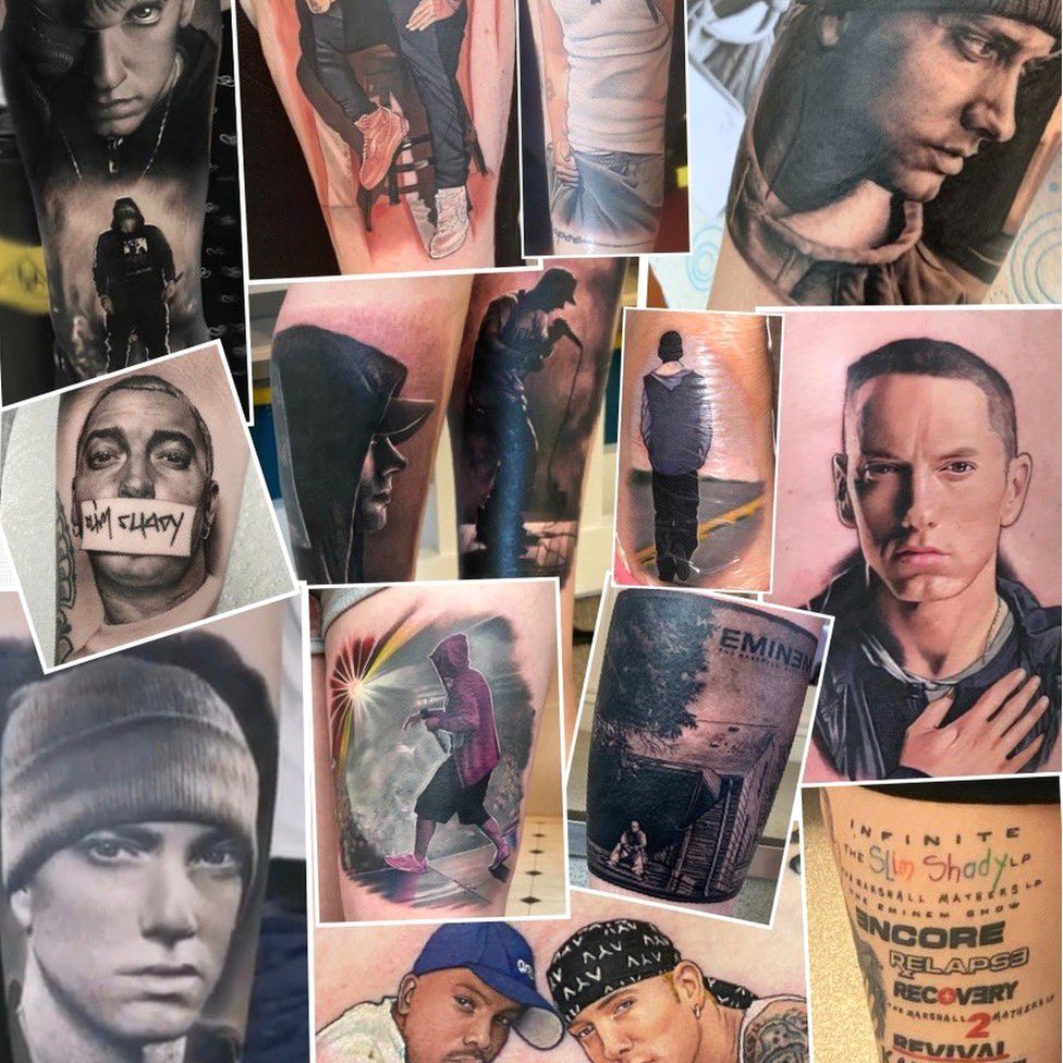 Eminem Fan Sets World Record For Most Musician Tattoos Bbc News