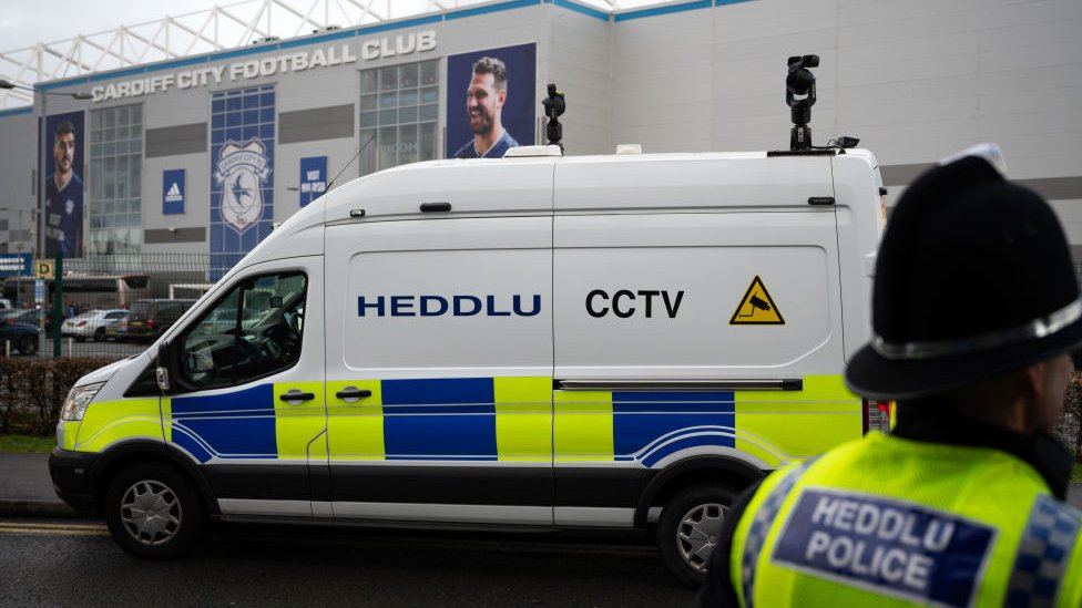 Facial recognition in use at Cardiff City Stadium ahead of a match