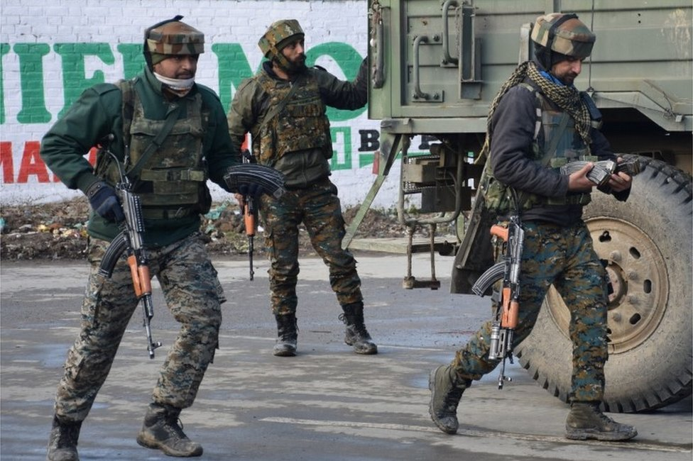 "Indian Army soldiers arrive near the site of a gun battle between suspected militants and Indian security forces in Pinglan village in south Kashmir""s Pulwama district February 18, 2019"