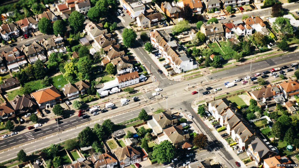 Aerial image of roads in a London suburb