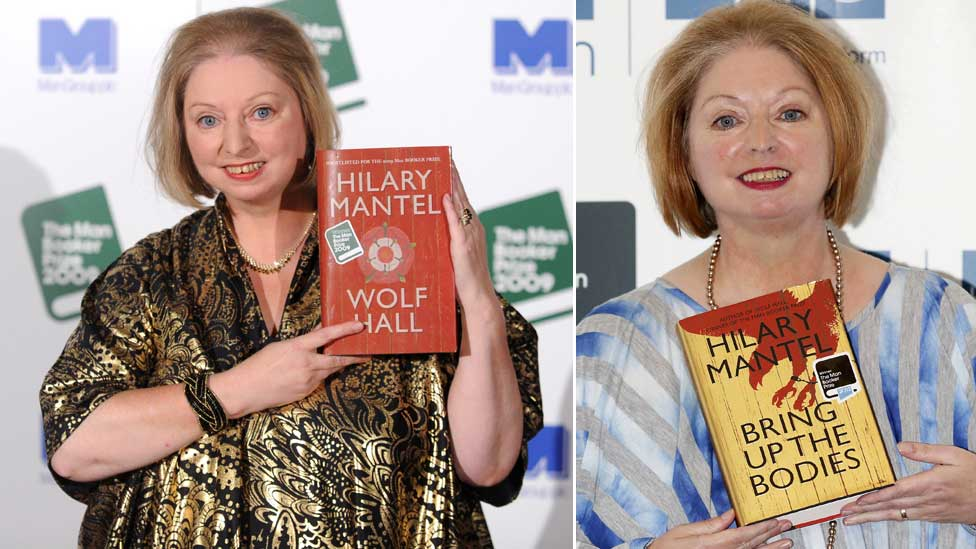 Hilary Mantel in 2009 and 2012