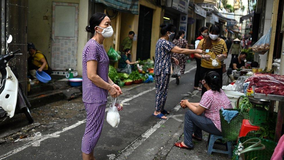 A street scene in Hanoi