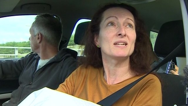 Alison McCabe in a car