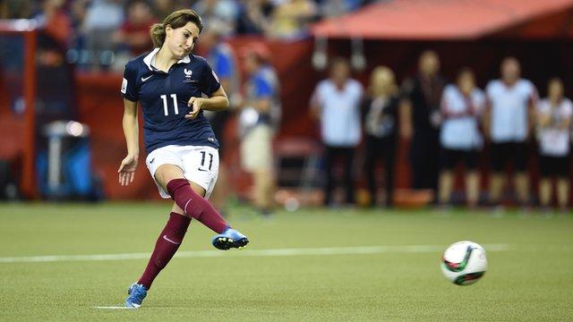 Claire Lavogez misses the deciding penalty kick for France