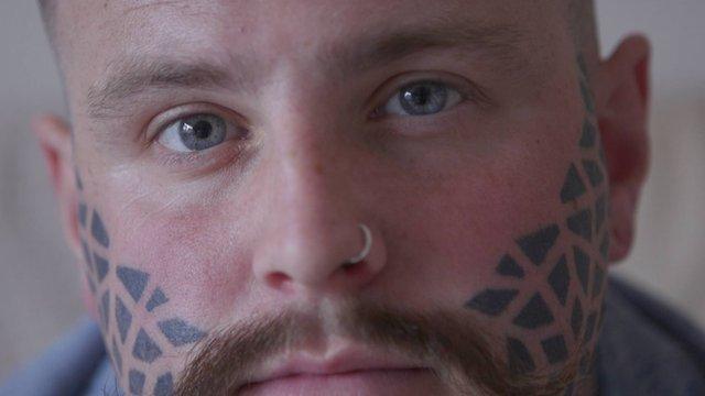 Sean Green has had a facial tattoo for three years