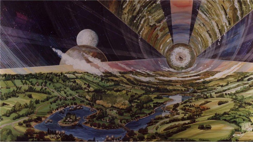 Una ilustración de un asentamiento espacial de Gerard O'Neill