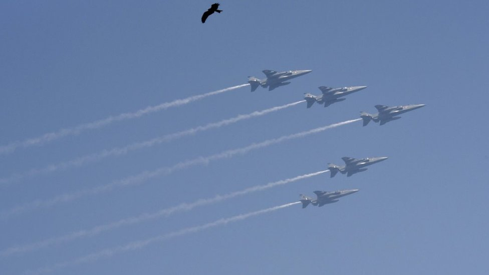 Indian Air Force (IAF) aircrafts fly past over Rajpath during the Republic Day Parade, at Rajpath, on January 26, 2018 in New Delhi, India.