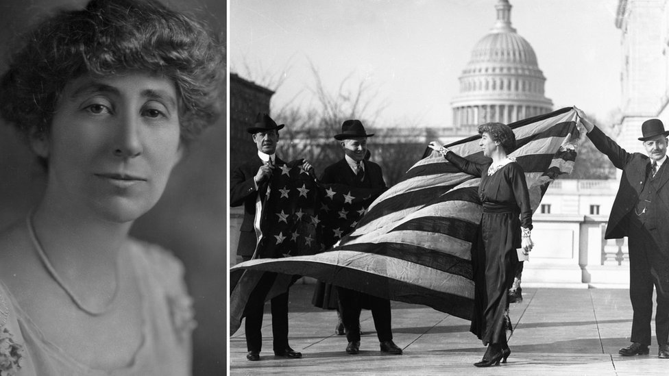 Side-by-side collage showing Congresswoman Jeannette Rankin