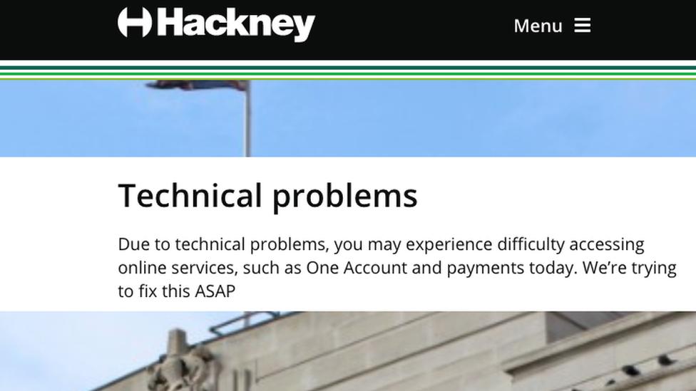 Hackney Borough Council website warning