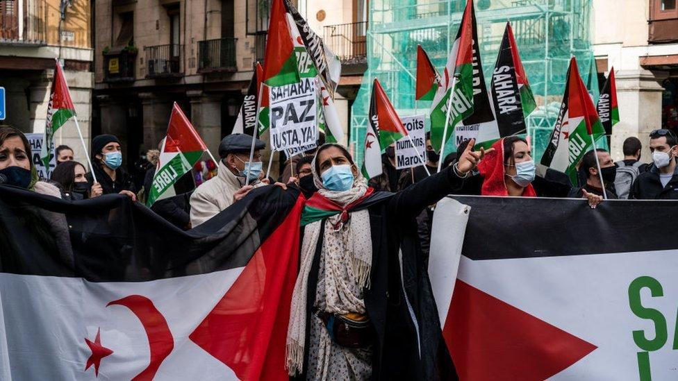 Protesta por los derechos de los saharauis en Madrid.