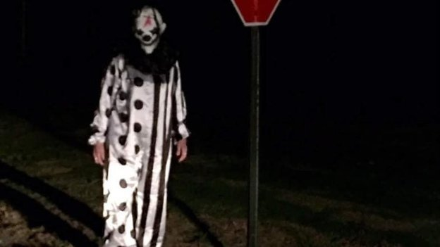 Facebook user Jason Rawlins posts a photo of a clown he encountered in Waco, Kentucky.