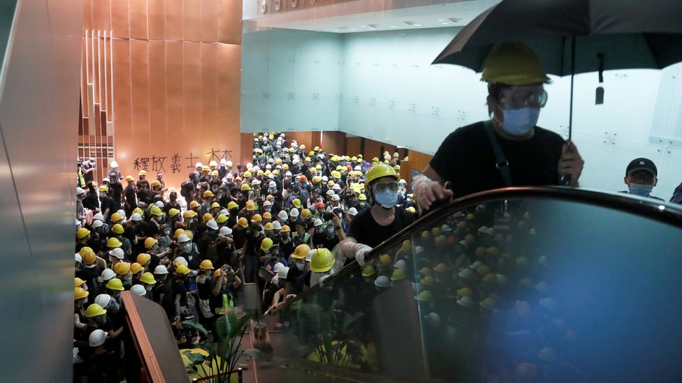Protesters in Legislative Council building
