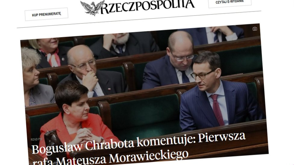 The top story in Poland's Rzeczpospolita is about the resignation of the country's Prime Minister