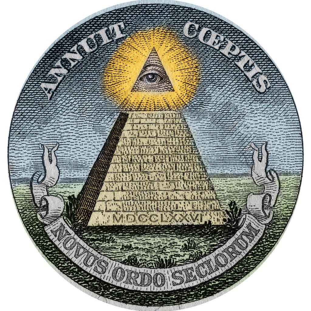 La pirámide y el ojo que todo lo ve, símbolos utilizados en el Gran Sello de los Estados Unidos e impresos en papel moneda estadounidense.