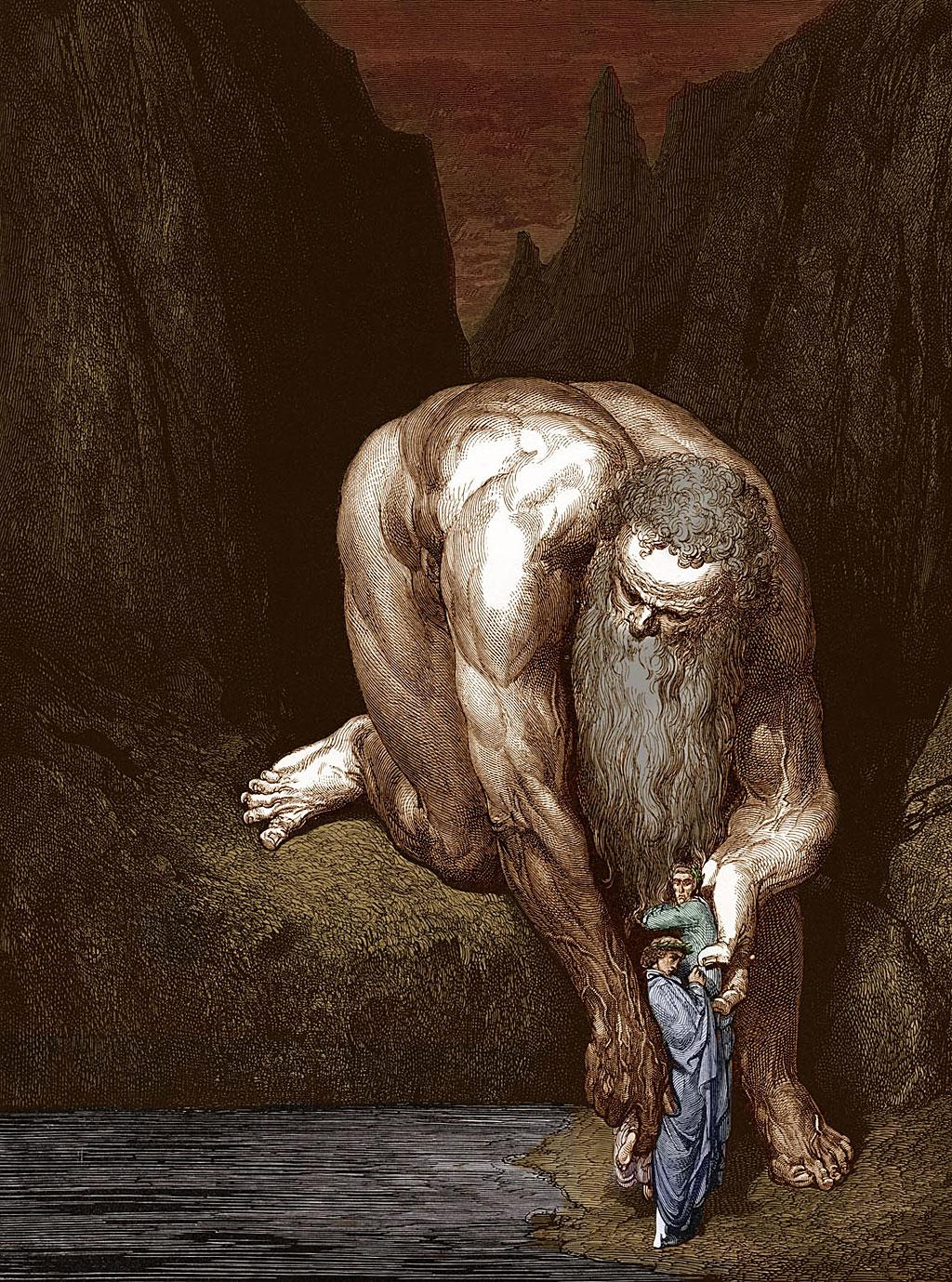 El Gigante Anteo se inclina y levanta a Dante y Virgilio, antes de bajarlos al fondo del abismo. (Inferno, Canto 31, líneas 127-131). Dibujado por Gustave Doré.