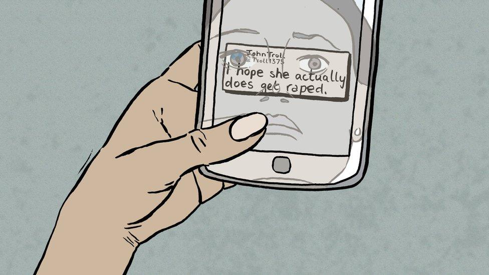 Ilustración de un celular con mensaje de odio