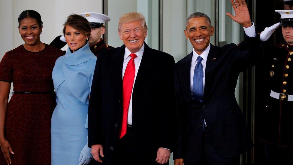 Los Obama y los Trump el 20 de enero de 2017