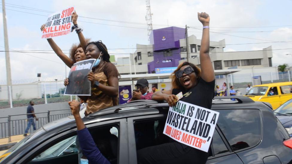 EndSars protesters in Lagos, Nigeria - 13 October 2020