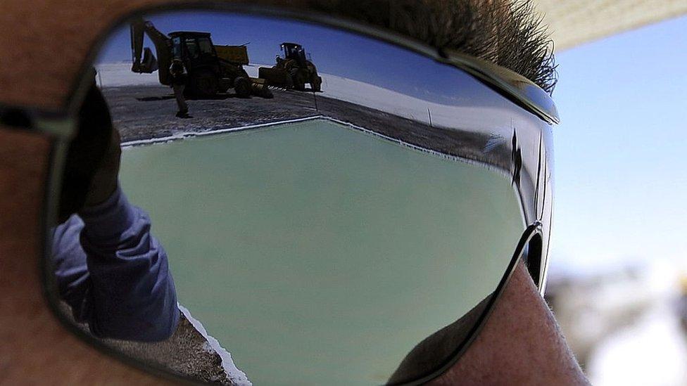Salt pool reflected in glasses