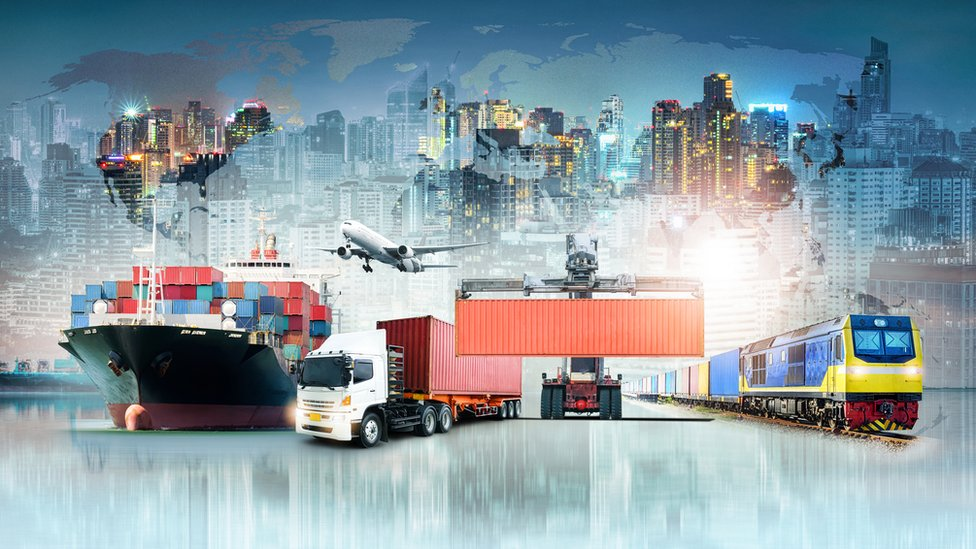 A world map image featuring a ship, lorry, plane and train the foreground