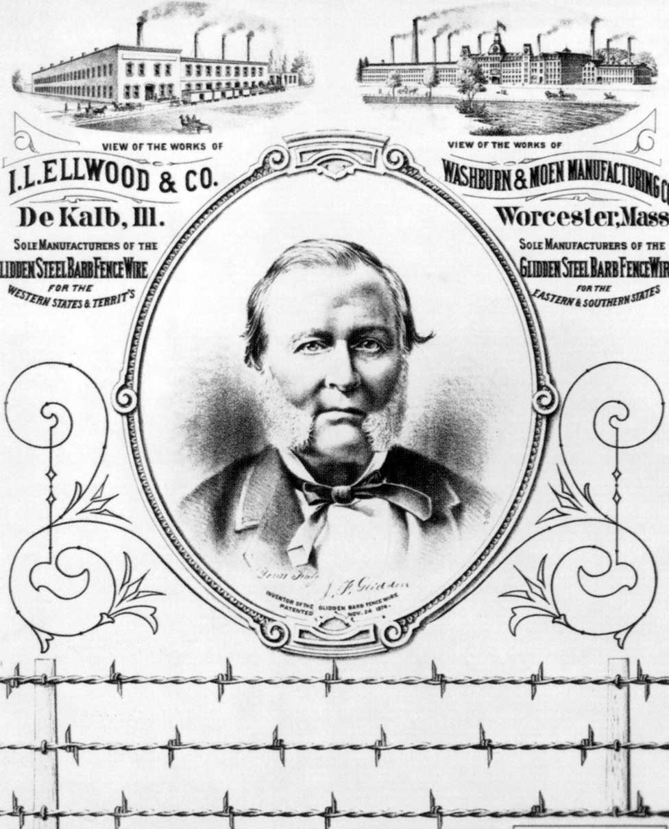 An advert for John Glidden's barbed wire featuring his portrait