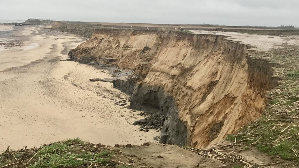 The North Seas has been eating the cliffs at Happisburgh