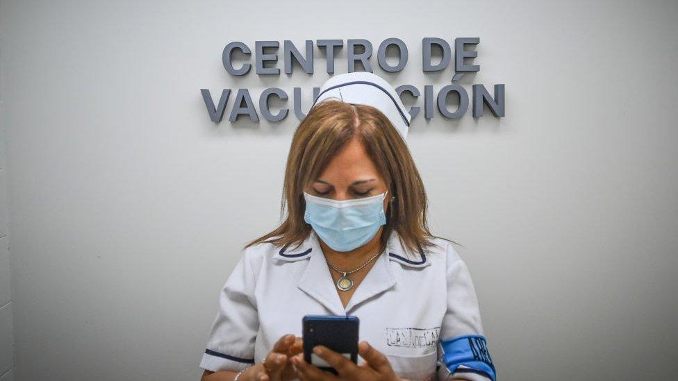 Enfermera en Uruguay.
