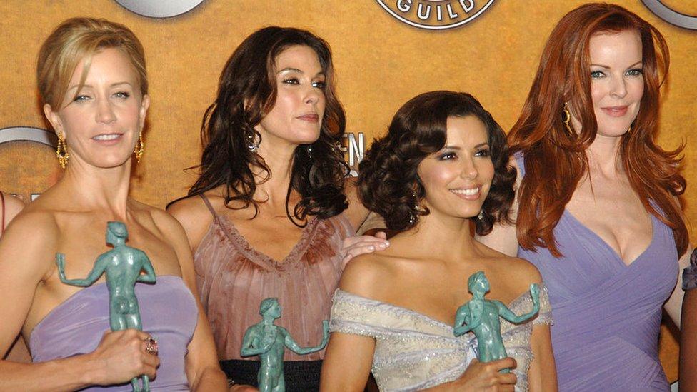 Felicity Huffman, Teri Hatcher, Eva Longoria and Marcia Cross of Desperate Housewives, pictured winning an award in 2006