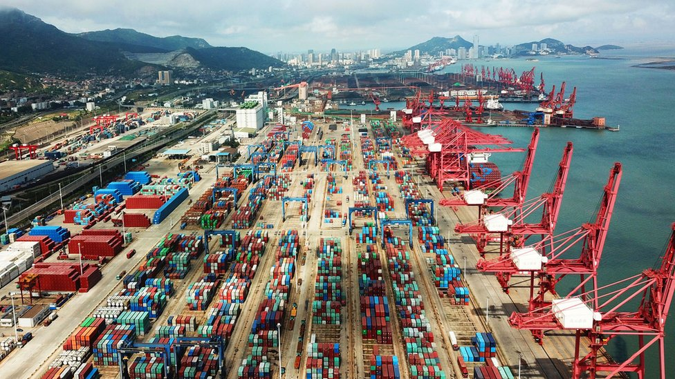 Containers are seen at a port in China in July, 2018