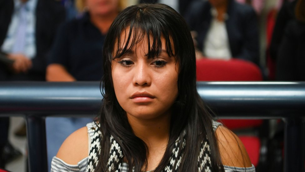 Salvadorean rape victim Evelyn Hernandez is seen prior to her hearing