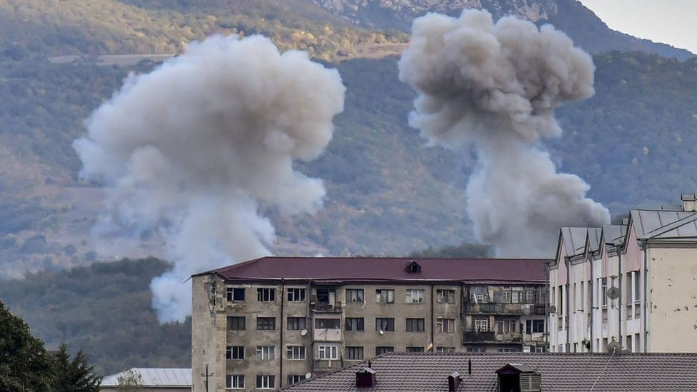 Smoke rises after shelling in Stepanakert on October 9, 2020