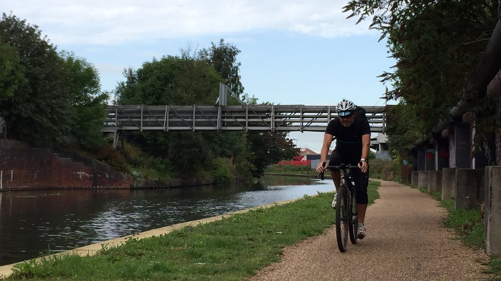 A cyclist on the Bridgewater Canal