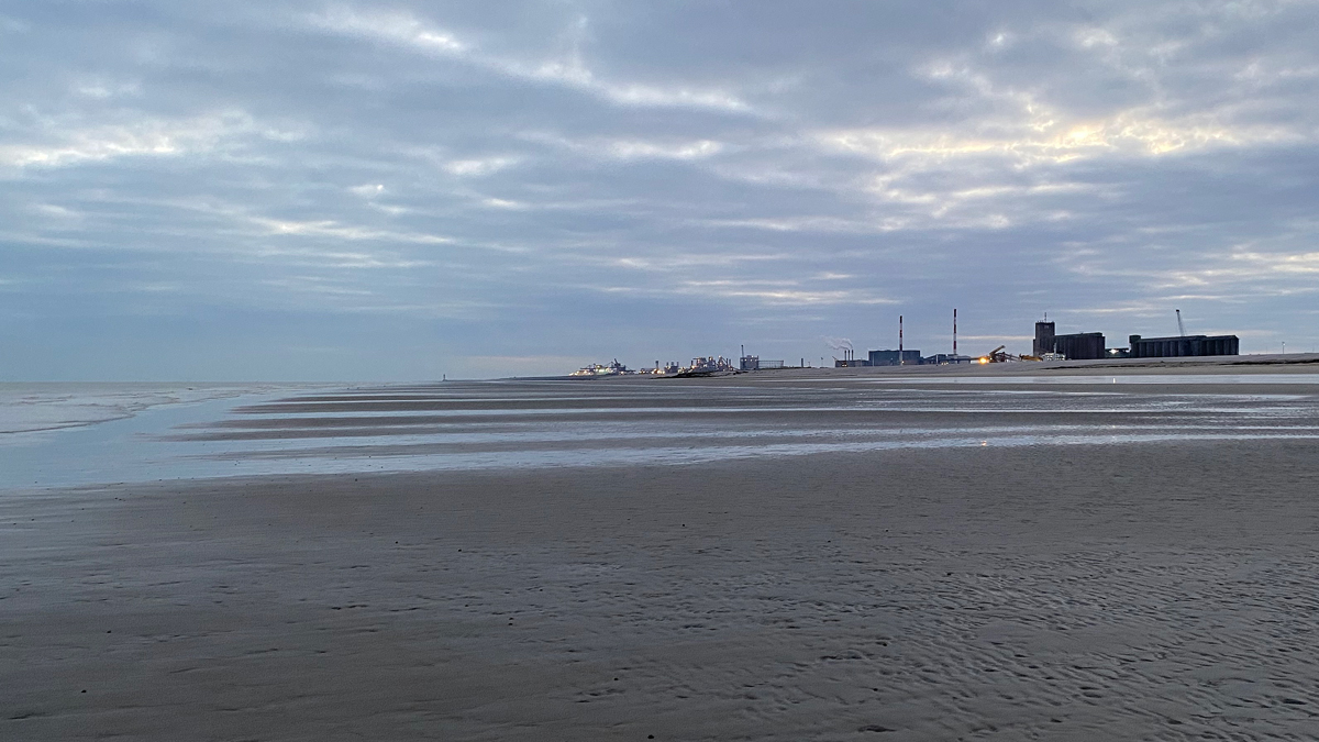 Loon Plage beach with Dunkirk Port in the background