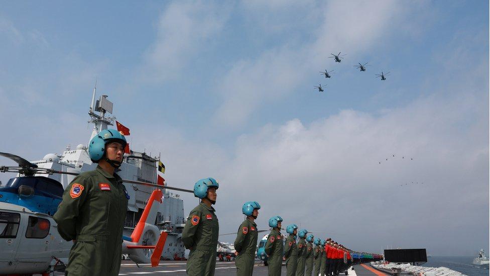 4月12日,中國舉行海上閲兵
