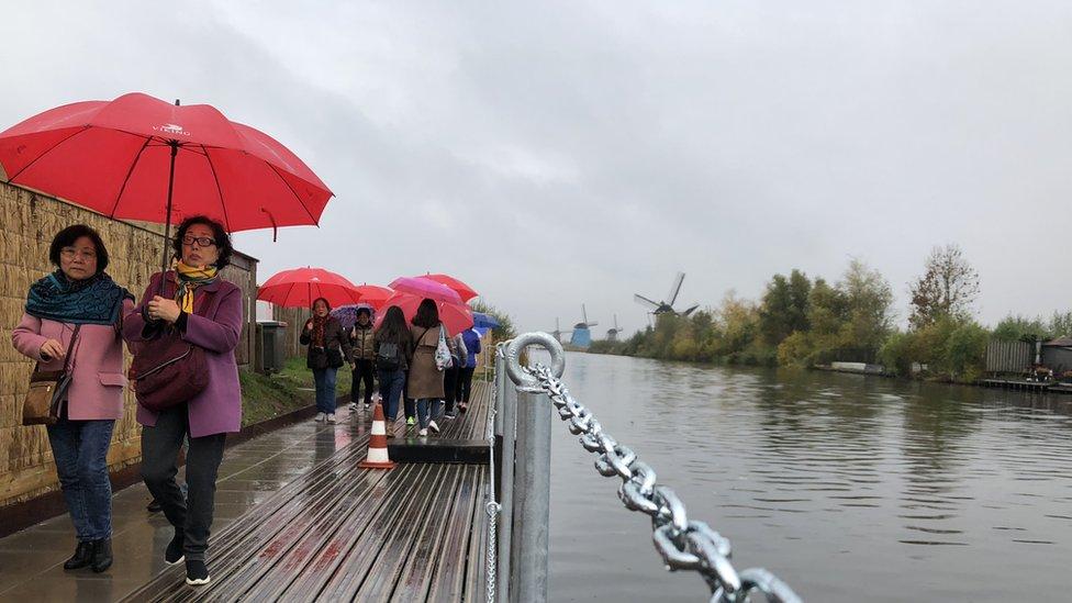 Tourists visit Kinderdijk