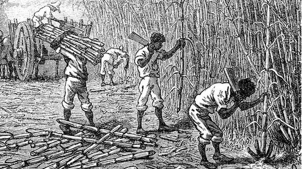 Ilustración de hombres esclavizados en Jamaica