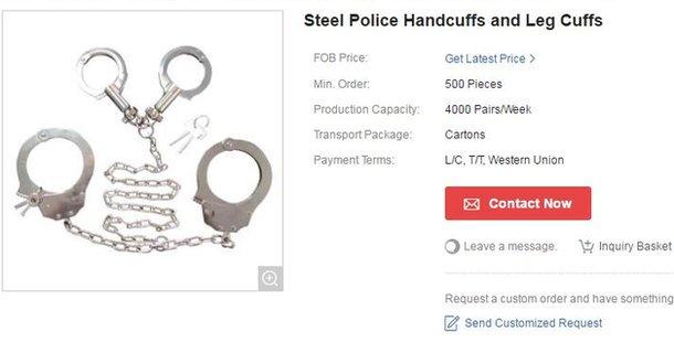 Steel Police Handcuffs and Leg Cuffs